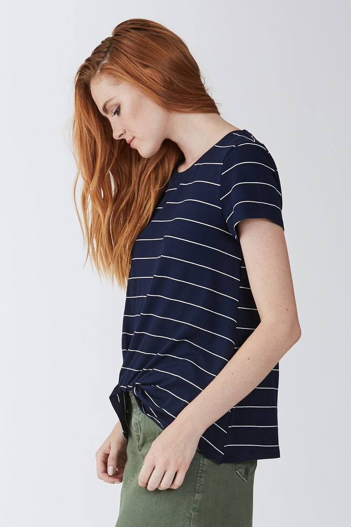 The Julia Navy & White Knot Front Tee