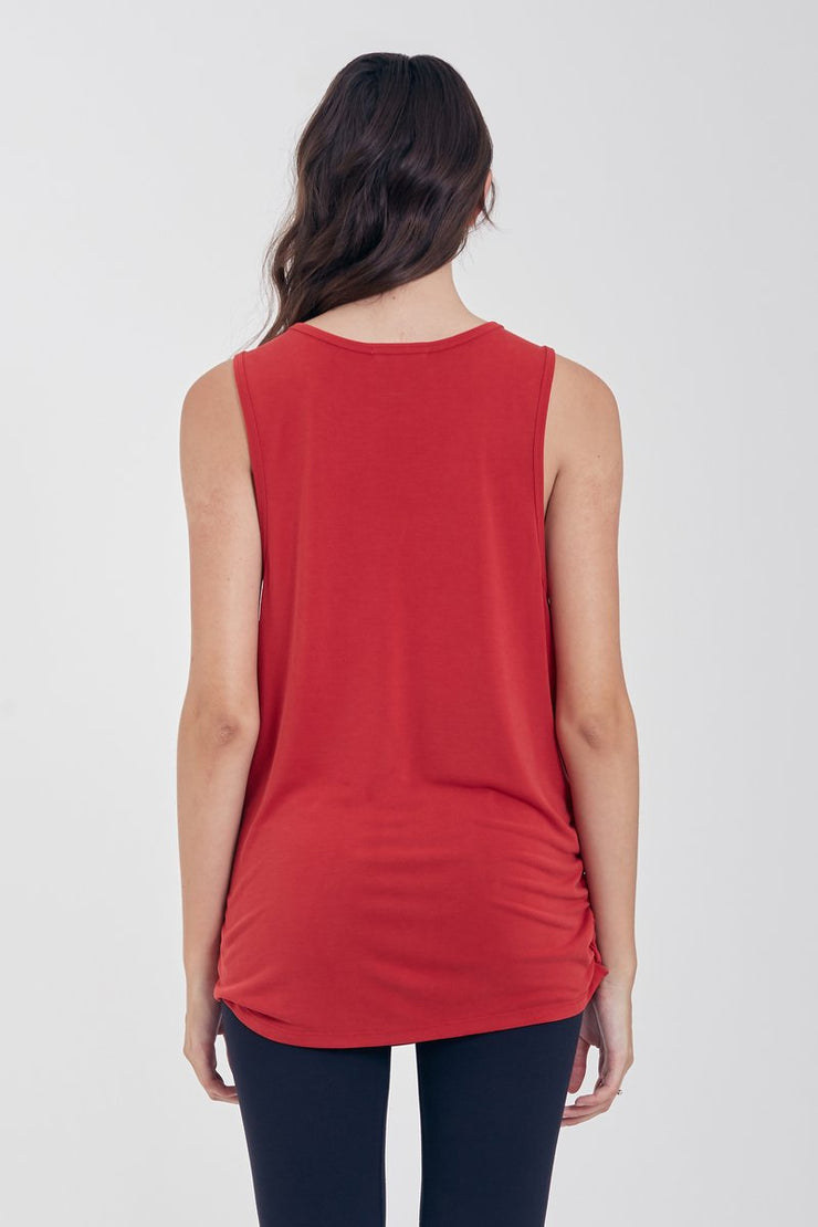 The Lexi Rusched Muscle Tank (Cherry Red) (2334205149232)