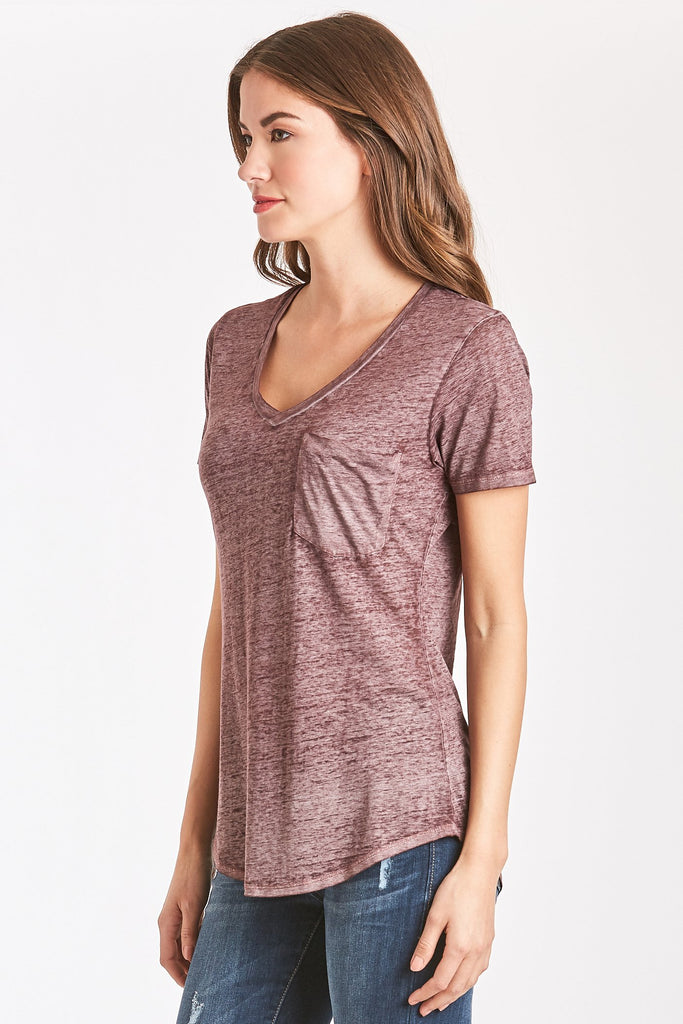 The Phoenix Burn-Out V-Neck - Bordeaux