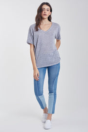 The Piper V-Neck Tee (Moonlight Blue) (3673294503984)