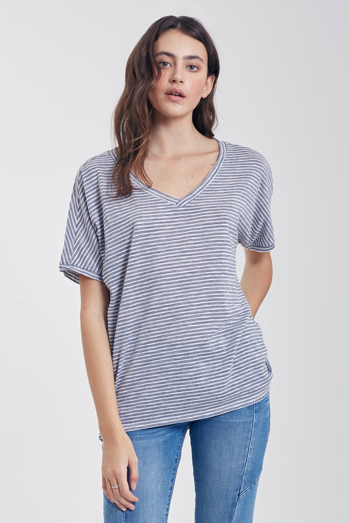 The Piper V-Neck Tee (Moonlight Blue)