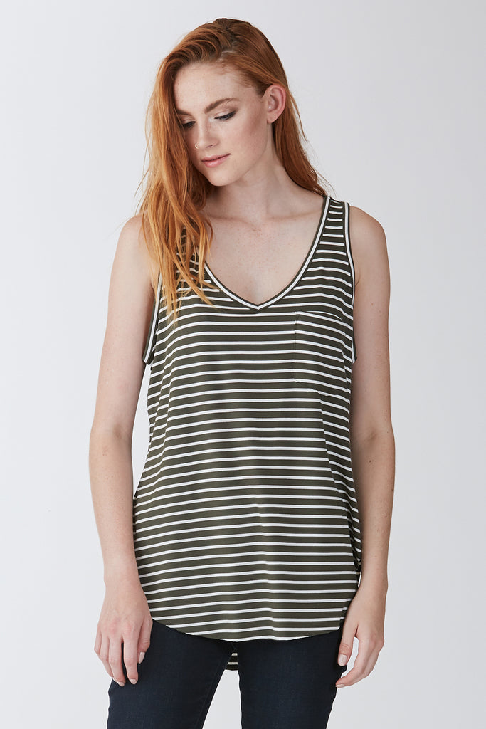 The Rebecca Stripe Pocket Tank (Olive & White)