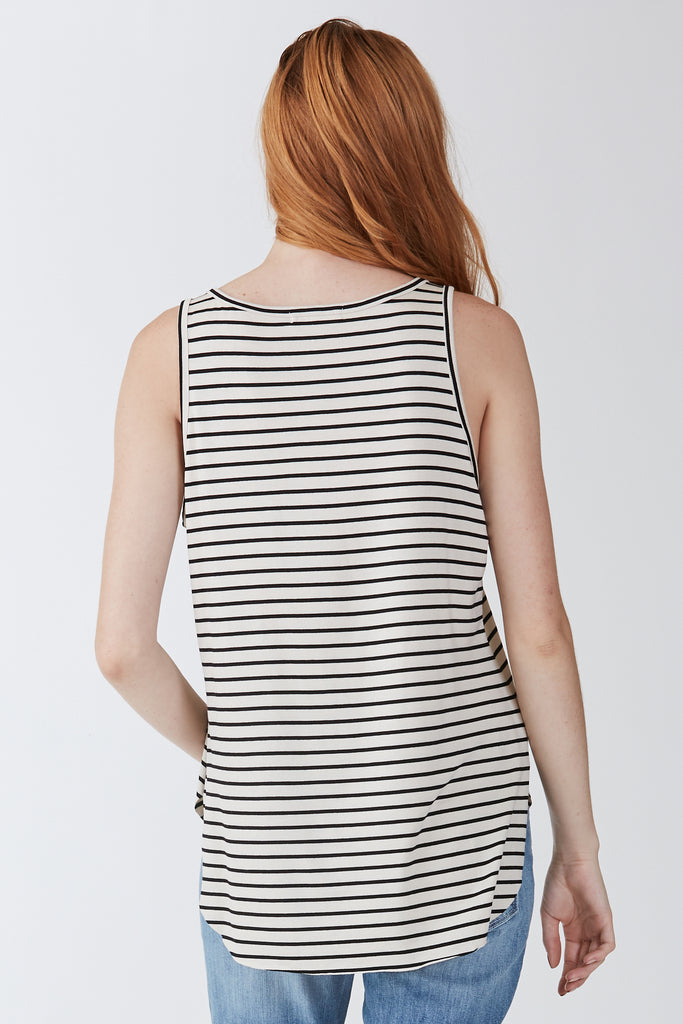 The Rebecca Stripe Pocket Tank (Sand & Black)
