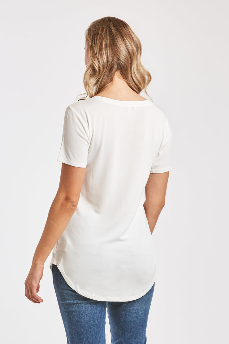 The Valentina V-Neck Tee - White (3830558883888)