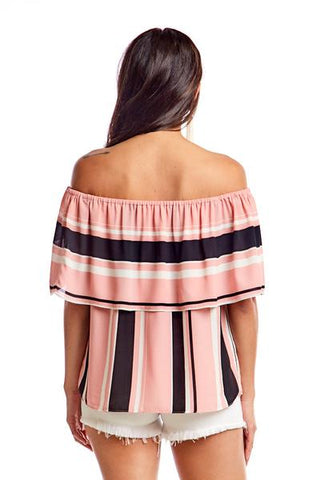Wesley Pink Stripe Off Shoulder Top
