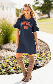 Auburn Tigers Adventure Awaits Cold Shoulder Snow Washed Dress (3815473348656)