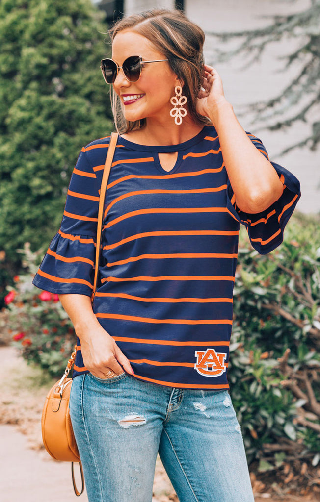 Auburn Tigers Go with the Flow Striped Keyhole Ruffle Top