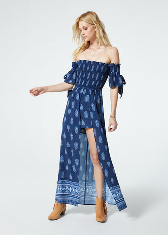 Bandana Off The Shoulder Walk Through Maxi