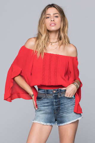Charlie Lace Inset Off Shoulder Top
