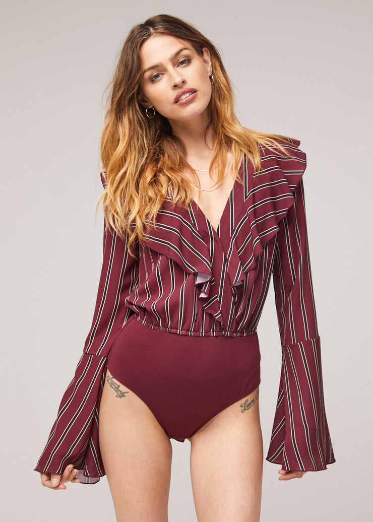 The Audrey Stripe Bell Sleeve Bodysuit (2157940867120)