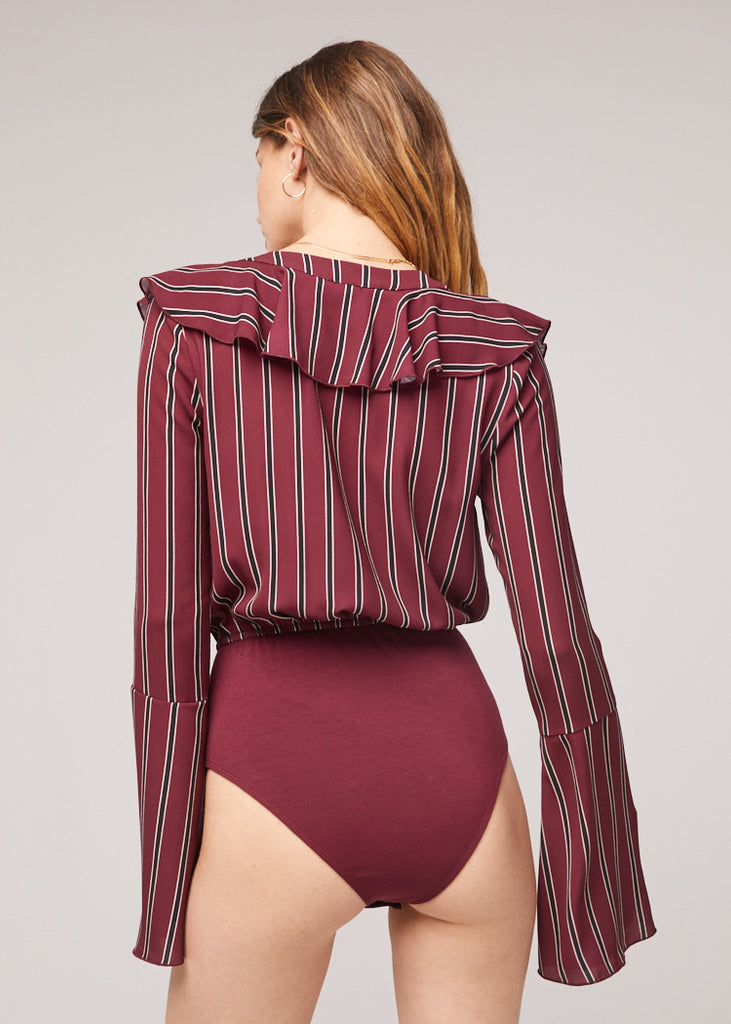 The Audrey Stripe Bell Sleeve Bodysuit