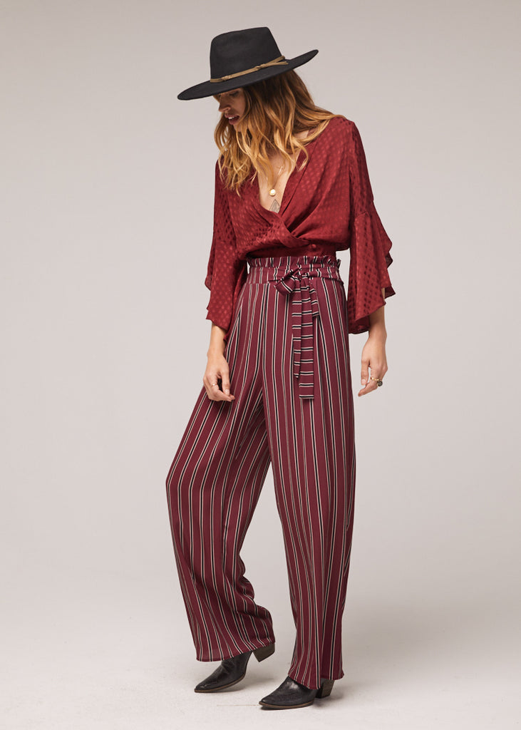 The Avery Wide Leg Stripe Pant