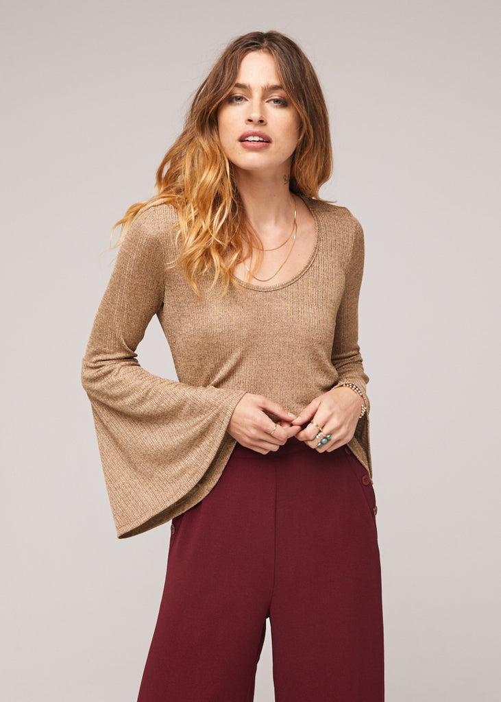 The Kadin Dusty Gold Bell Sleeve Top