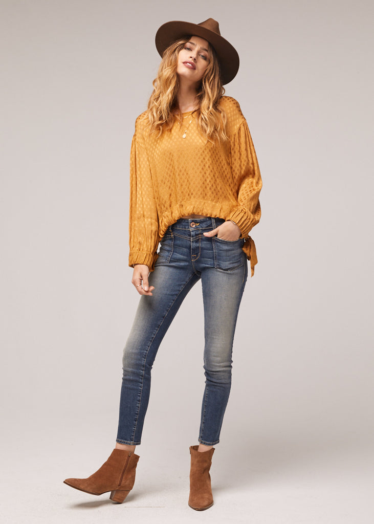 The Reed Tie Waist Gold Top