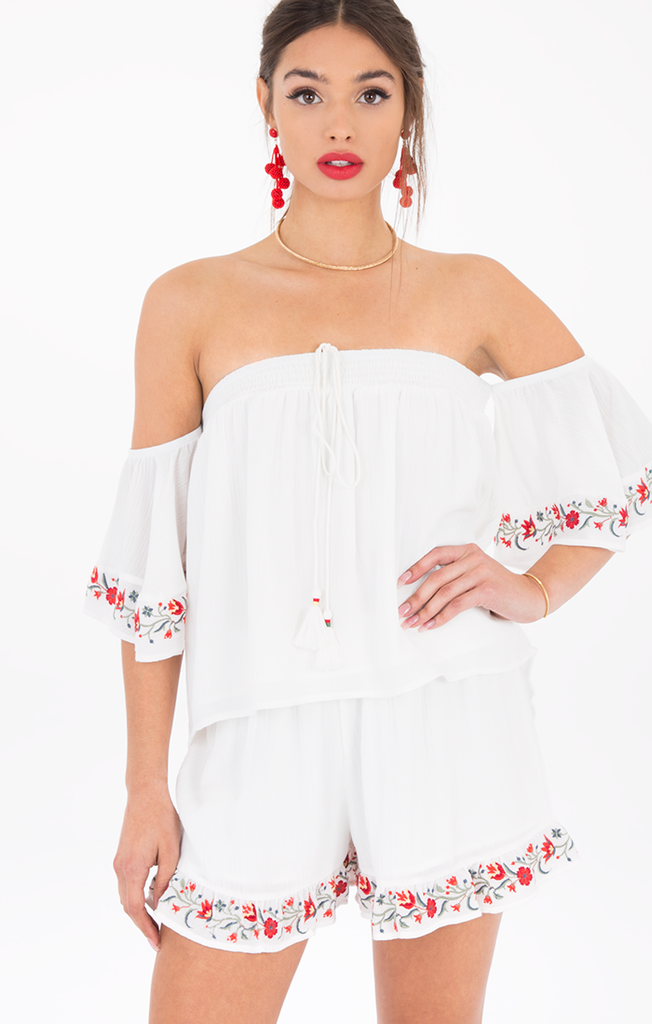 Jasey Snow White Off the Shoulder Top