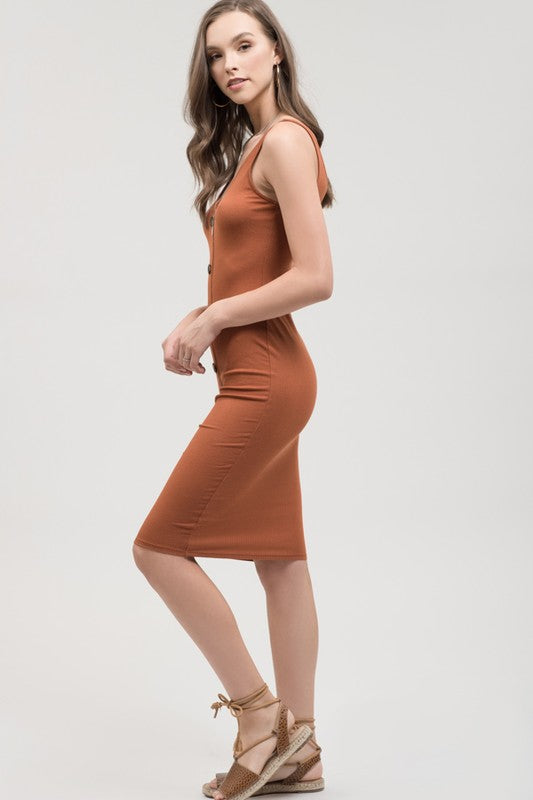 The Amelia Button Front Dress (Brick) (4321923727408)