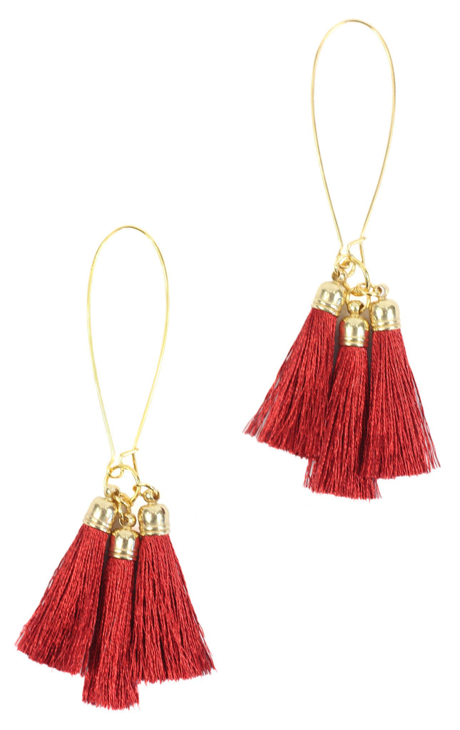 Bourbon and Boweties - Red Tassel Earring