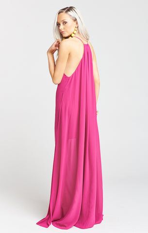 Bronte Fuschia Pop Chiffon Maxi Dress