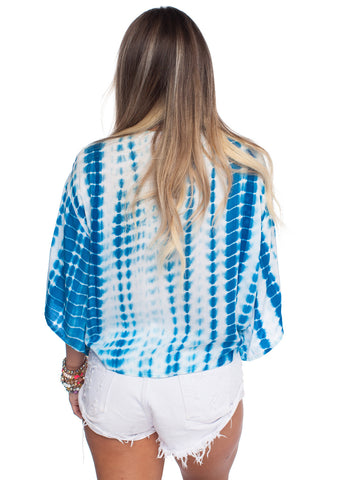 Muse Teal Blue Tie Top