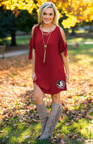 Florida State Seminoles Cold Shoulder Dress Game Day Dresses Game Day Couture - Bows and Arrows FSU Seminoles and UF Gators Women's Game Day Dresses and Apparel