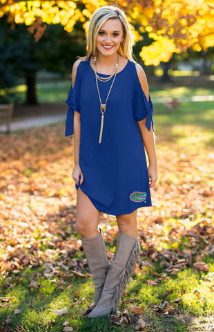 University of Florida Gators Cold Shoulder Dress Game Day Dresses Game Day Couture - Bows and Arrows FSU Seminoles and UF Gators Women's Game Day Dresses and Apparel