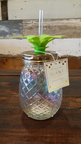 Clear Pineapple - Mason Sipper Jar Mason Jar Slant - Bows and Arrows FSU Seminoles and UF Gators Women's Game Day Dresses and Apparel