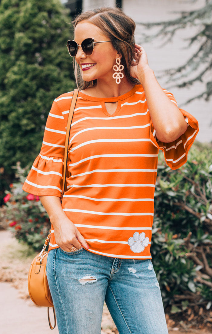 Clemson Tigers Go with the Flow Striped Keyhole Ruffle Top (3815488159792)