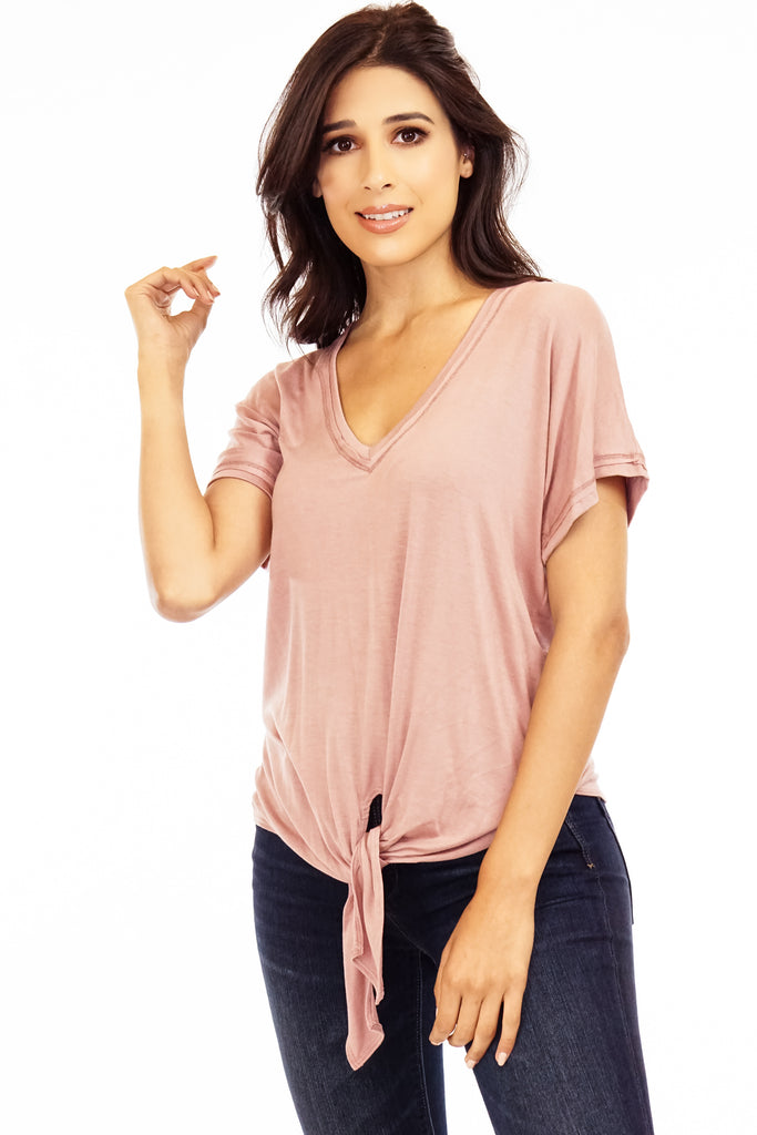 The Mauve Tie Front Tee