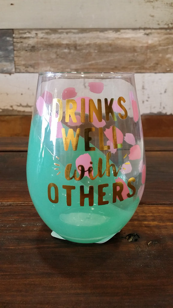 Drinks Well with Others - Wine Glass Wine Glass Slant - Bows and Arrows FSU Seminoles and UF Gators Women's Game Day Dresses and Apparel