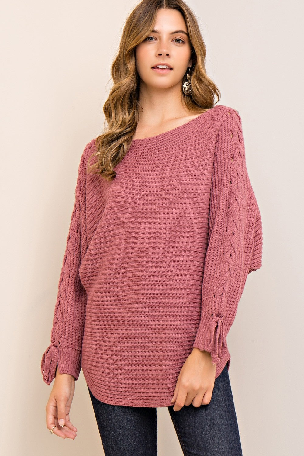 Dusty Pink Lace-Up Sweater