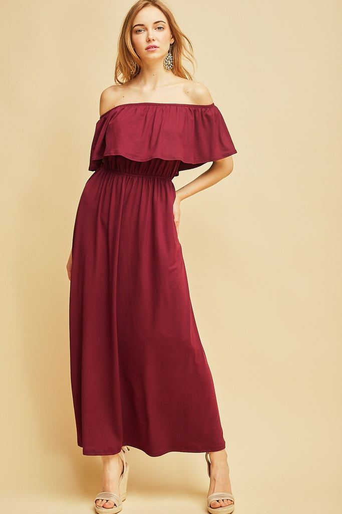 Off Shoulder Garnet Maxi Game Day Dress