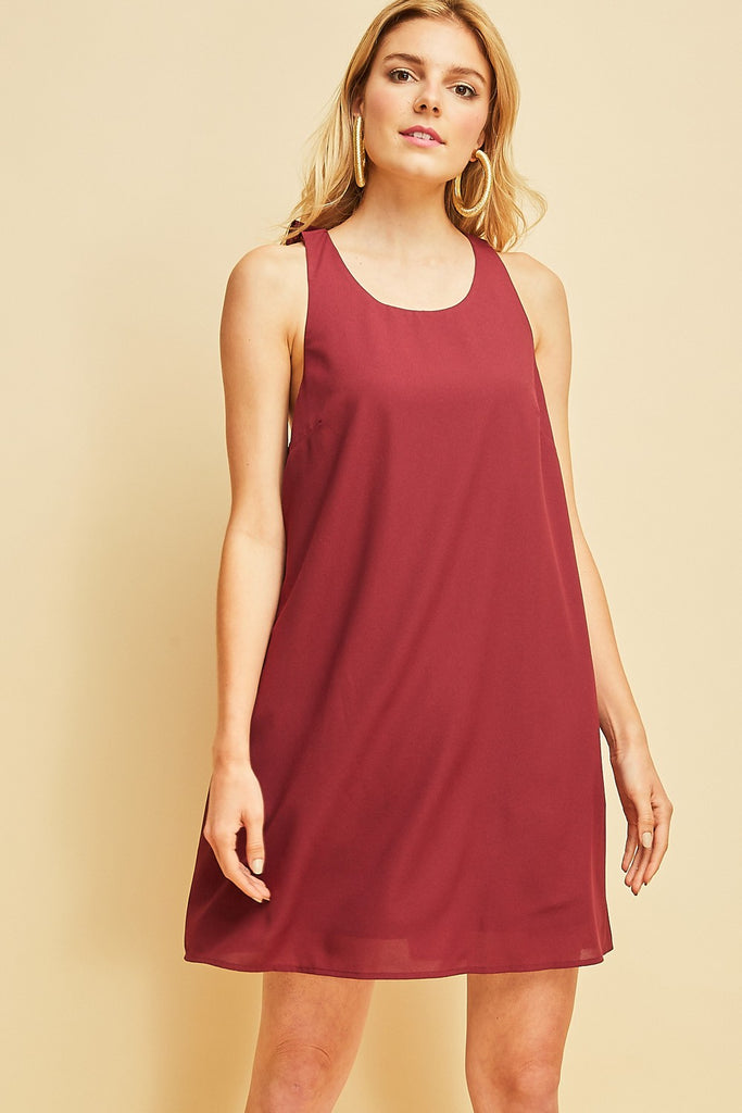 Garnet Ruffle Back Game Day Dress
