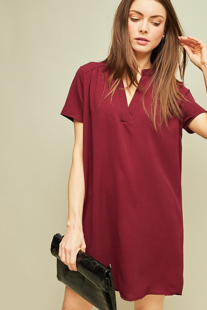 Garnet V-Neck Shift Game Day Dress