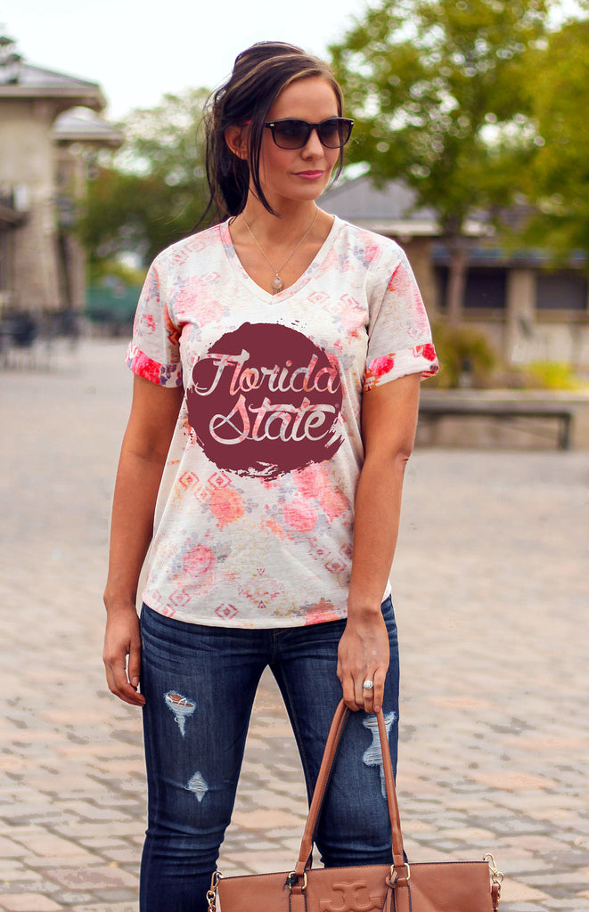 Florida State Reverse Print Floral Tee Tee Game Day Couture - Bows and Arrows FSU Seminoles and UF Gators Women's Game Day Dresses and Apparel