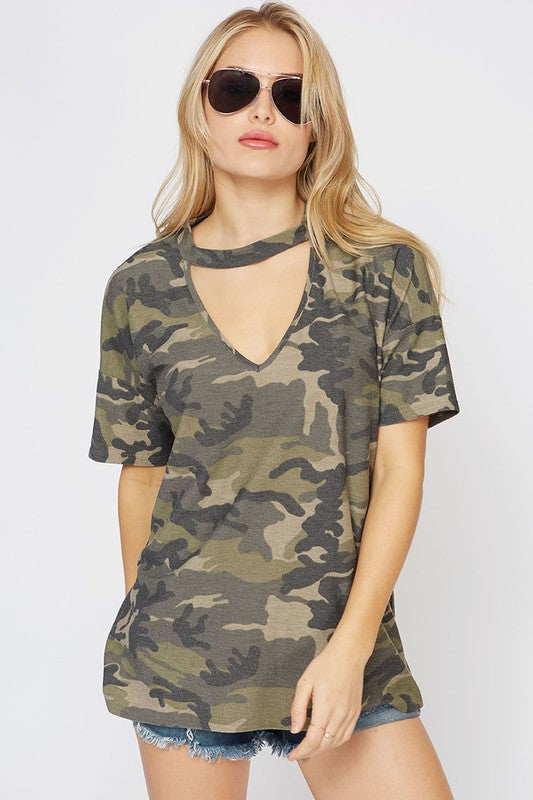 Cammie Camo Choker Top Tee Fantastic Fawn - Bows and Arrows FSU Seminoles and UF Gators Women's Game Day Dresses and Apparel