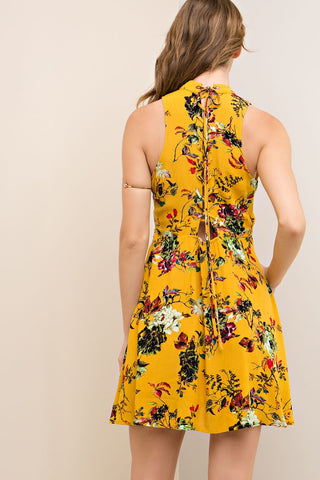 Floral Mustard Lace Up Dress