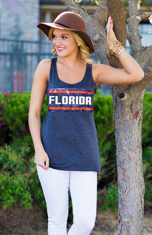 Florida Retro Racerback Tank Tank Game Day Couture - Bows and Arrows FSU Seminoles and UF Gators Women's Game Day Dresses and Apparel