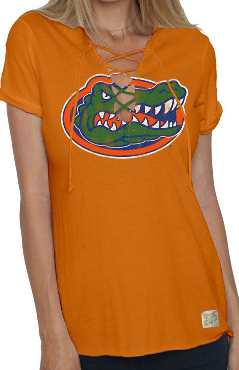 Vintage Orange Florida Gators Lace-Up Tee