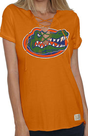 Vintage Orange Florida Gators Lace-Up Tee (401573904417)