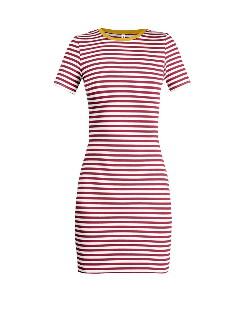 The Betty T-Shirt Dress - Garnet & Gold