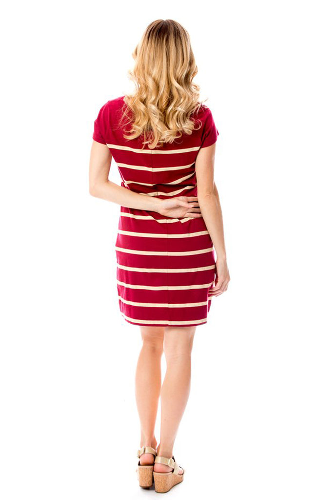 Short Sleeve Stripes Dress - Garnet & Gold