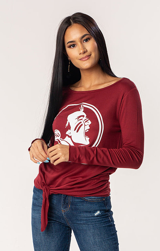 FSU Seminoles The Ella Long Sleeve Tie Front Tee