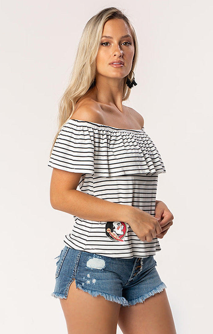 The Ryan Off Shoulder FSU Game Day Top (1378585149488)