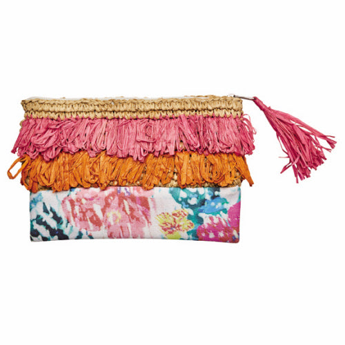 Fringe and Flower Print Clutch