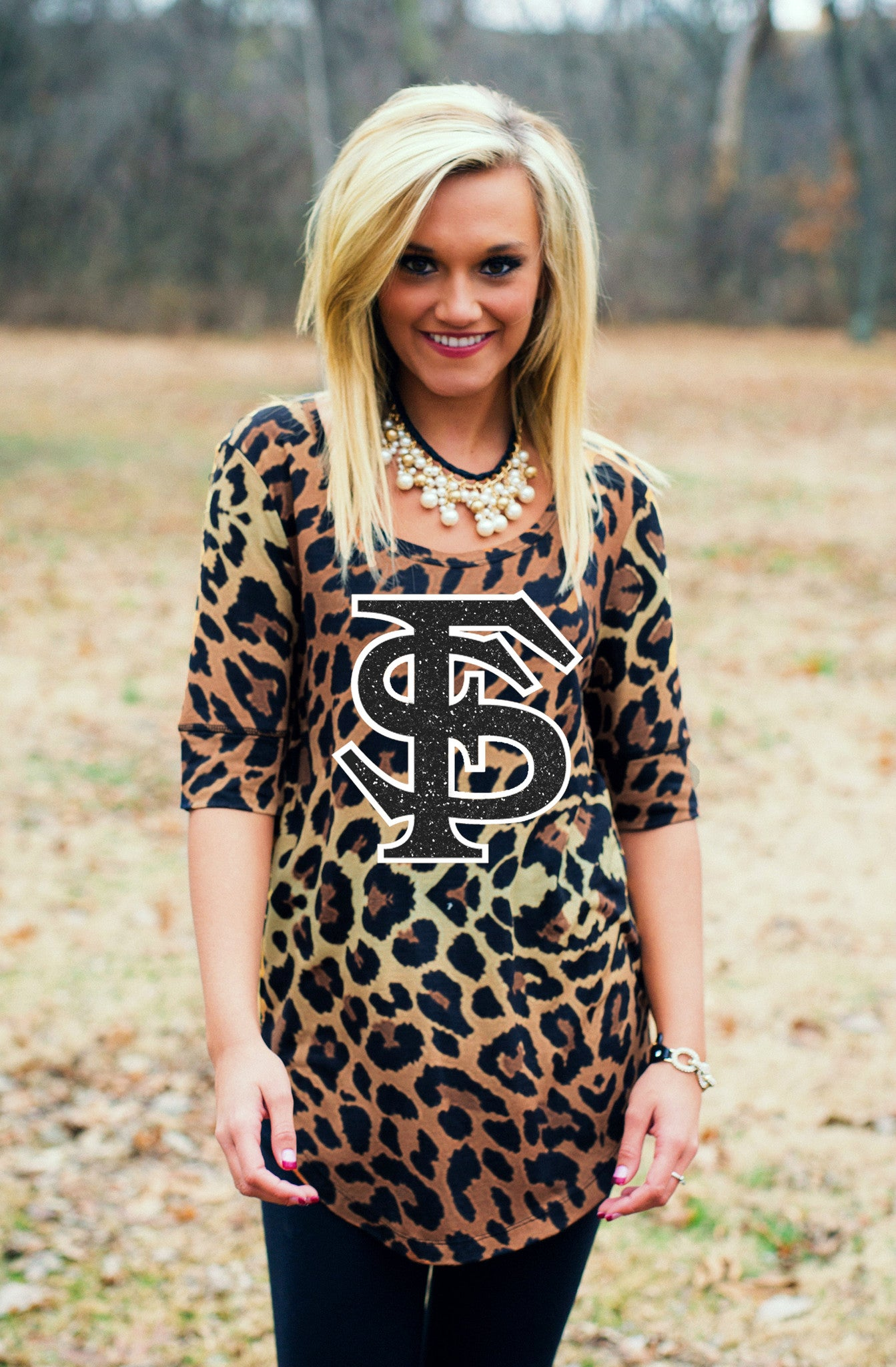 Leopard Print FSU Half Sleeve Tee Tunic Game Day Couture - Bows and Arrows FSU Women's Game Day Dresses and Apparel