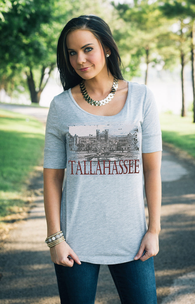 Tallahassee Half Sleeve Landmark Tee Tunic Game Day Couture - Bows and Arrows FSU Seminoles and UF Gators Women's Game Day Dresses and Apparel