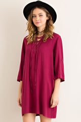 Garnet Lace-Up Game Day Dress