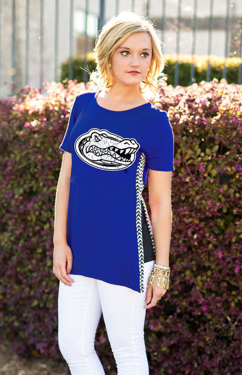 Gators Herringbone Trimmed Side Split Tee Tee Game Day Couture - Bows and Arrows FSU Seminoles and UF Gators Women's Game Day Dresses and Apparel