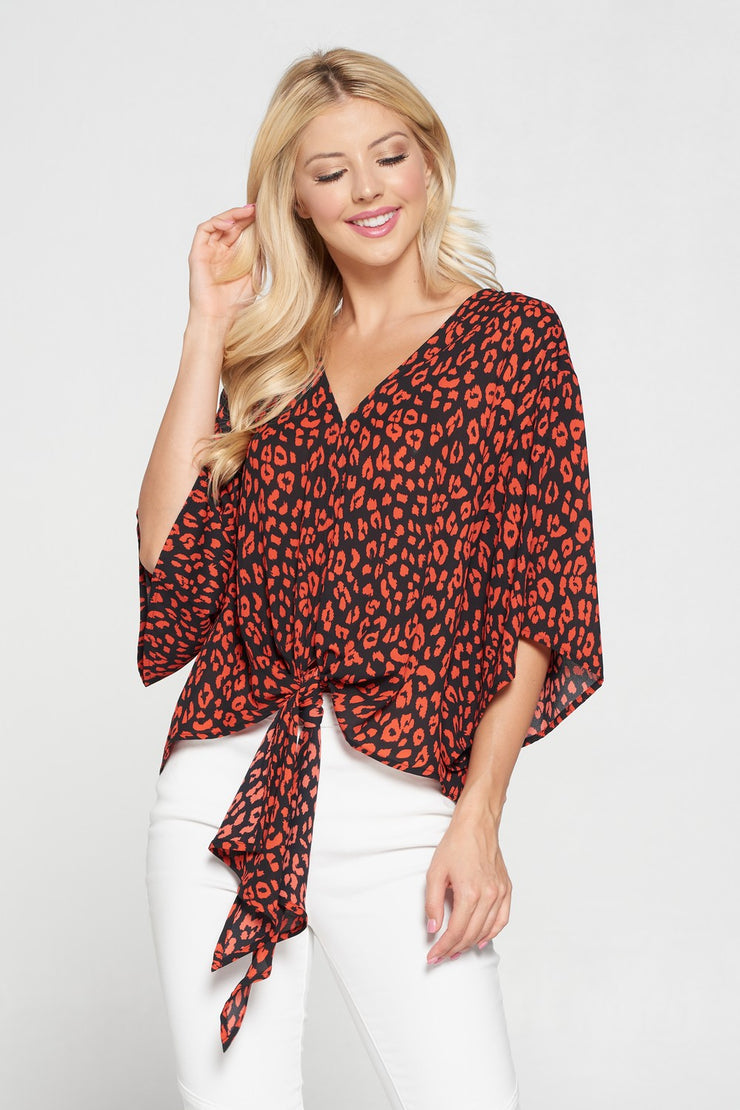 The Leopard Print Black & Red Tie Front Top