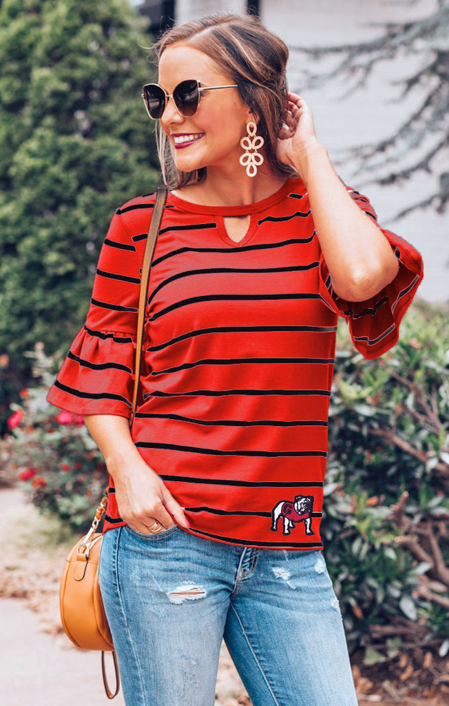 Georgia Bulldogs Go with the Flow Striped Keyhole Ruffle Top